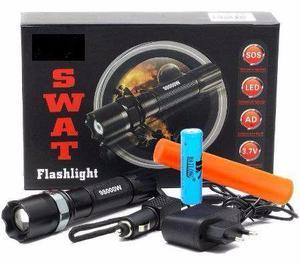 Lanterna recarregável completa com acessórios Swat e laser
