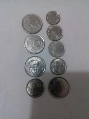 Mocel coleções: lote de 9 moedas de 1 e 5 cents de aço