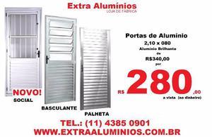 Portas de Alumínio 2,10 x 80 - NOVO