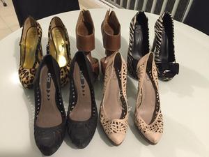 5 pares de sapatos seminovos, usados 2 x apenas, número 37