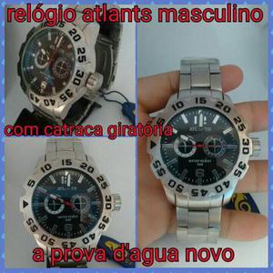 79bdf58d582 Relógio atlants masculino pulseira de aço. prova d agua