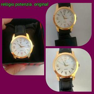 Relógio potenzia femenino dourado com pulseira de couro