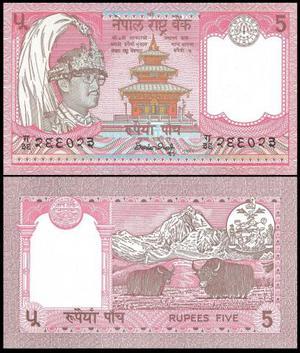 Nepal - Cédula 5 Rupees  FE - Raridade - Flor de
