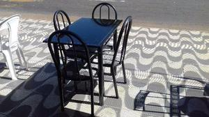 Mesa 4 cadeiras 120x70 pedra ardosia