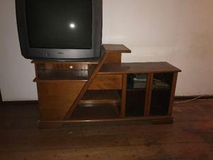 Rack ou estante em madeira maciça gavetas e armário