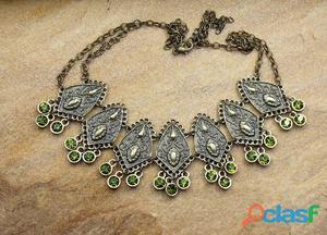 Maxi colar estilo boho chic ouro velho verde bijuterias