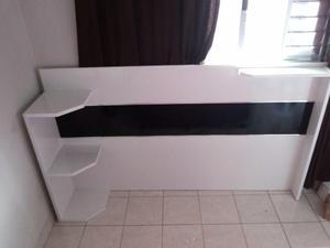Painel para cama Box Casal - Branco e preto