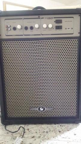 Caixa de som frahm ss 150 300 watts e microfone profissional
