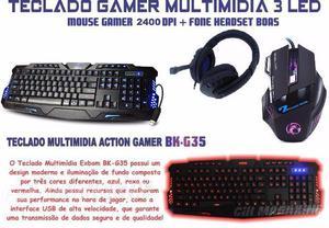 Kit Gamer Teclado Iluminado + Mouse  Dpi + Fone Headset