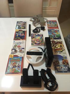 Nintendo Wii antigo usado, 3 controle, carregador e 9 jogos