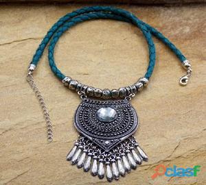 Maxi colar de couro boho chic turquesa bijuterias