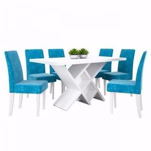 Conjunto Sala De Jantar C/ Mesa E 6 Cadeiras - Dj Móveis C3