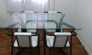 Mesa 4 cadeiras vidro tokstok