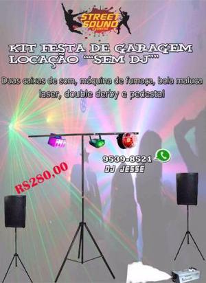 Locação Kit Festa de Garagem Caixa de Som Luzes Fumaça