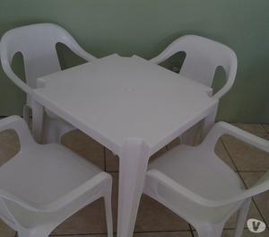 Cadeiras e Mesas, Jogo BRANCO (1 mesa c4 cadeiras p140KG)