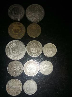Linda coleção de moedas nacionais e estrangeiras