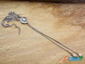Colar gargantilha gravatinha boho chic prateado bijuterias
