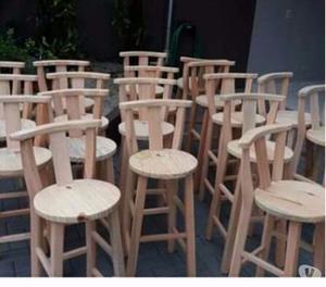Banquetas bistrô de madeira maciça de eucalipto