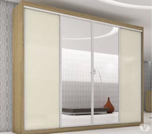 Roupeiro 4 portas, 2 espelhadas, 100% MDF, 2,75 m, Plata
