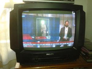 Tv Philips Stereo 21 Polegadas C/ Controle Remoto Semi Nova