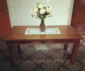Jogo de mesa em madeira de demolição