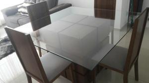 Mesa imbuia maciça + 4 cadeiras estofadas