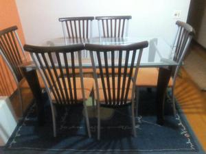 Mesa retangular c/ 6 cadeiras