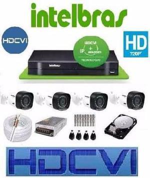 Kit com 4 câmeras Hdcvi intelbras, alta definição