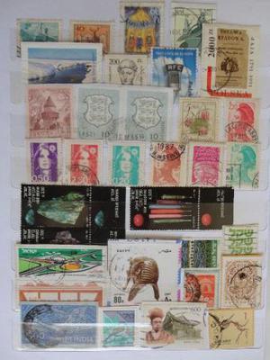 Coleção de Selos de Diferentes Países do Mundo
