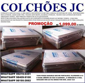 Conjunto box casal 1.38x1.88x73 ortopédico com espuma