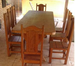 venda de mesa madeira maciça com 08 cadeiras