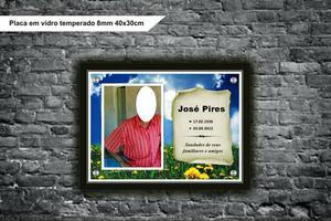 Lindas placas de vidro pra túmulos com á foto de seu
