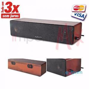 Caixa de som 8W em madeira com Base para parede Pc e