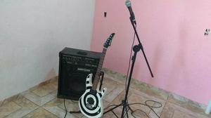 Guitarra +caixa + microfone