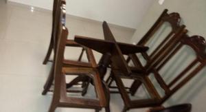 Mesa com 4 cadeiras madeira maciça embuia