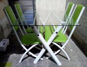 Mesa de Vidro C/ 4 Cadeiras