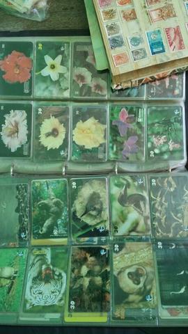 Coleção de selos e cartões.