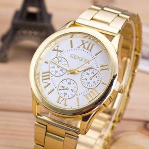 Relógio Feminino Dourado Quartz Elegancia e Estilo