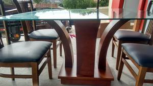 Mesa c/ 4 cadeiras com vidro temperado