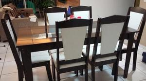 Mesa em MDF e tampo de vidro - 6 cadeiras