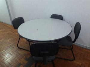 Mesa redonda de reunião para escritório com 4 cadeiras