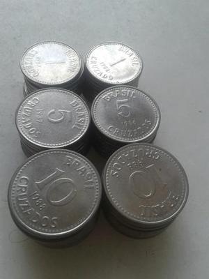 Lote (90) moedas de  cruzados