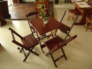 Mesa dobrável 70X70 jogo 1 mesa e 4 cadeiras