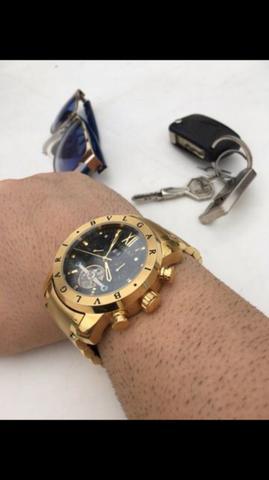 3782bf38600 Relogio bvlgari man dourado automatico novo top