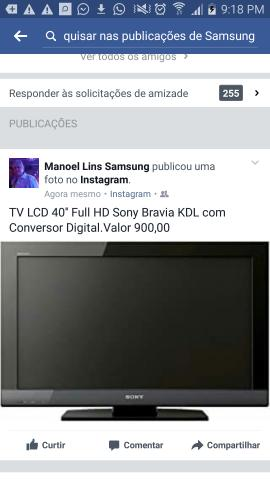 TV LCD 40'' Full HD Sony Bravia KDL com Conversor