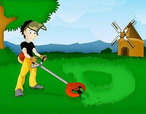 Jardineiro limpeza de terrenos com rocadeira
