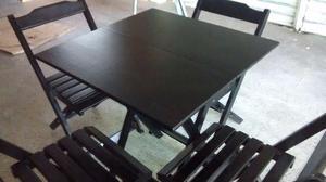 Conjunto de mesa dobrável com 4 cadeiras 70x70