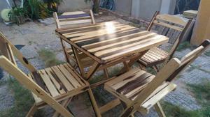 Mesa e cadeira de madeira dobravel pronta entrega