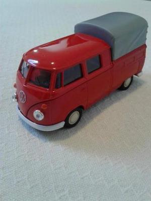 Miniatura Kombi Vw T1 Cabine Dupla Vermelha 1/43 - Welly