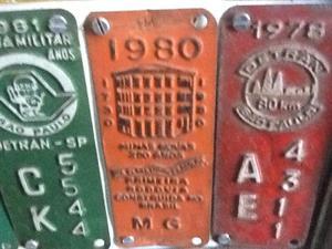 Plaqueta da Placa de Carro Antigo Anos 80 das Minas Gerais